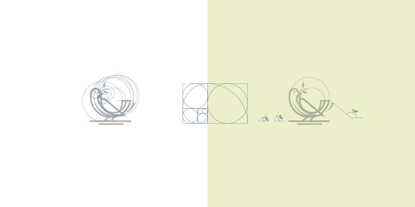 Bird Logo with Golden Ratio Grids