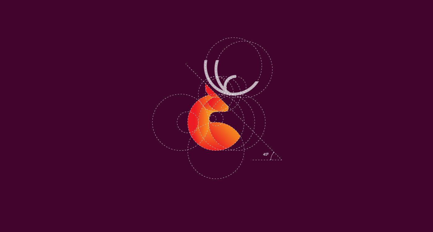 Deer logo design with golden ratio