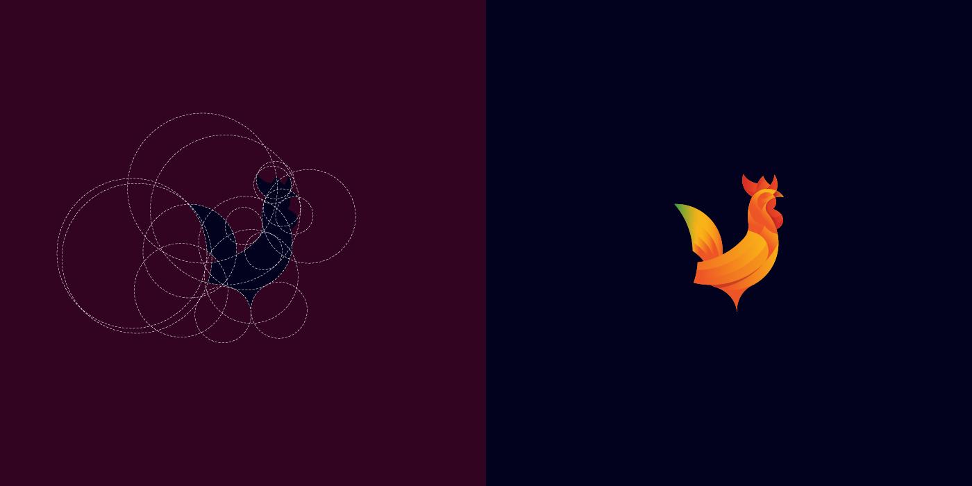 Grid rooster logo design - For Sale - Dainogo