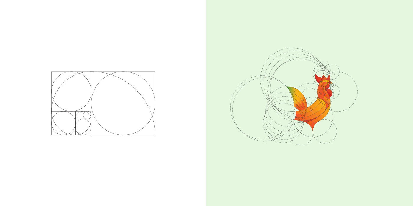 Rooster and golden ratio grid