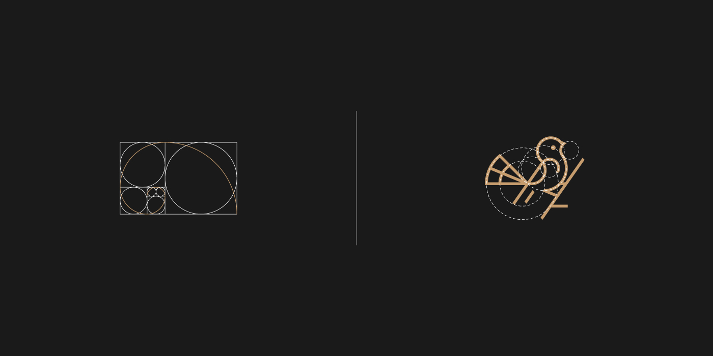 Golden ratio Spiral - bird logo grids