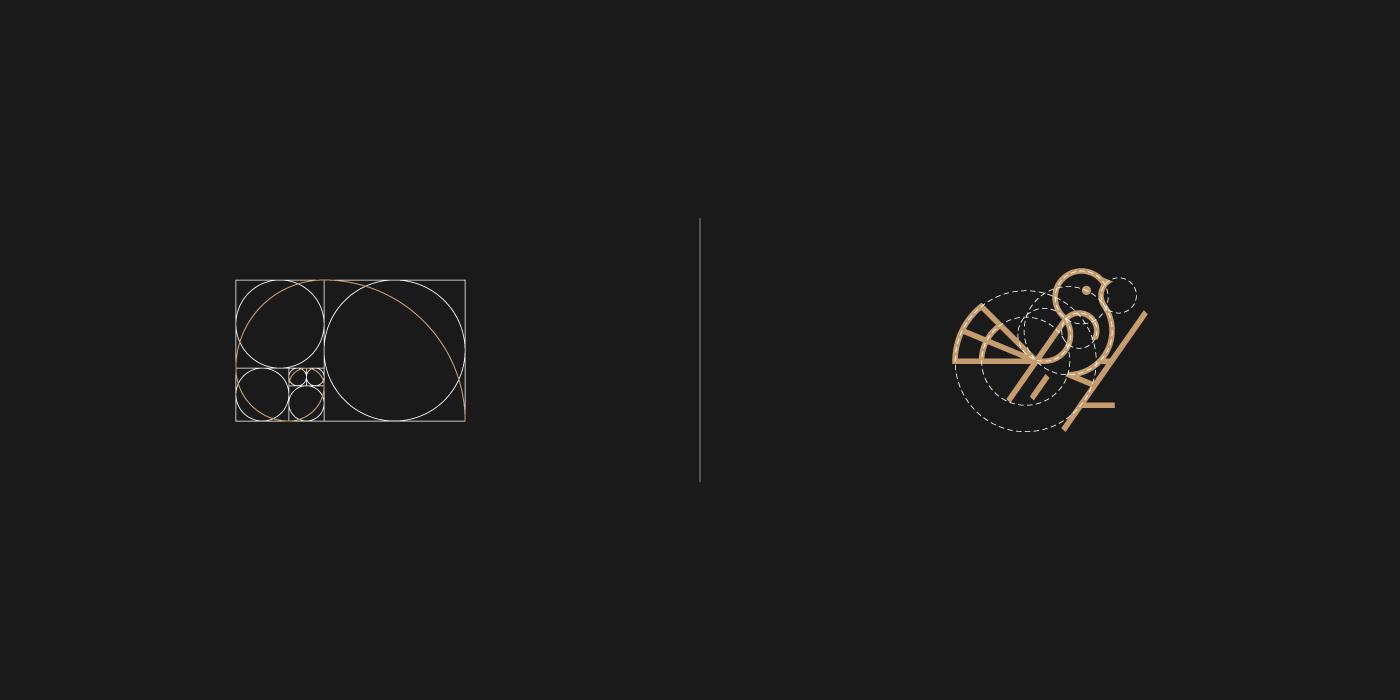 Golden ratio Spiral - bird logo grids