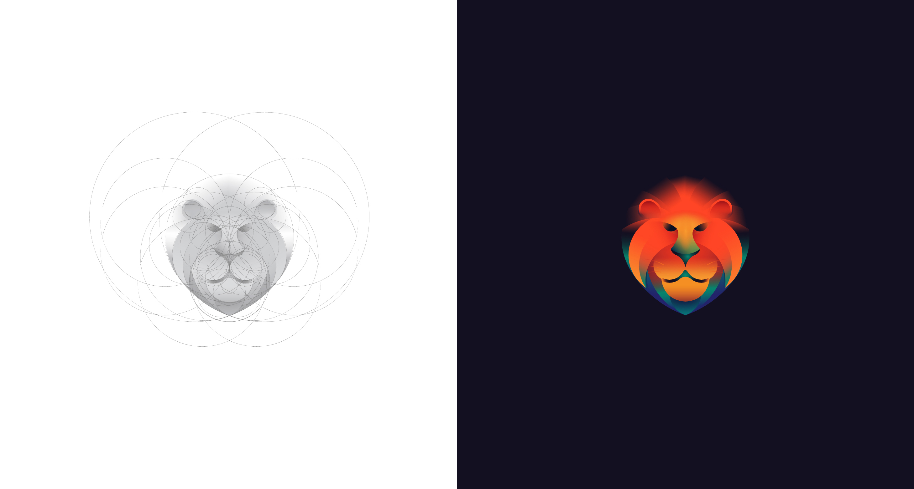 Lion logo with golden ratio grids