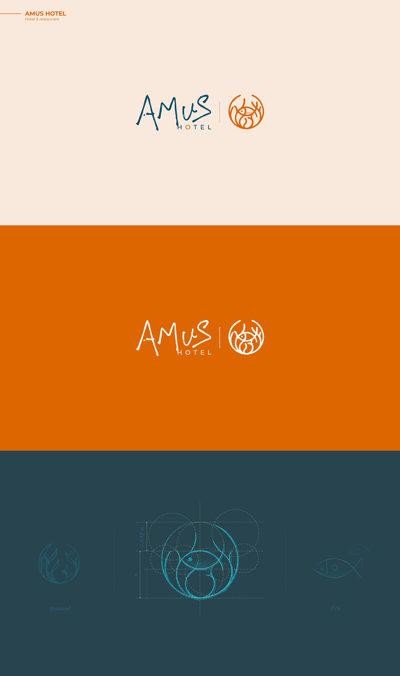 AMUS Hotel - Fish logo design