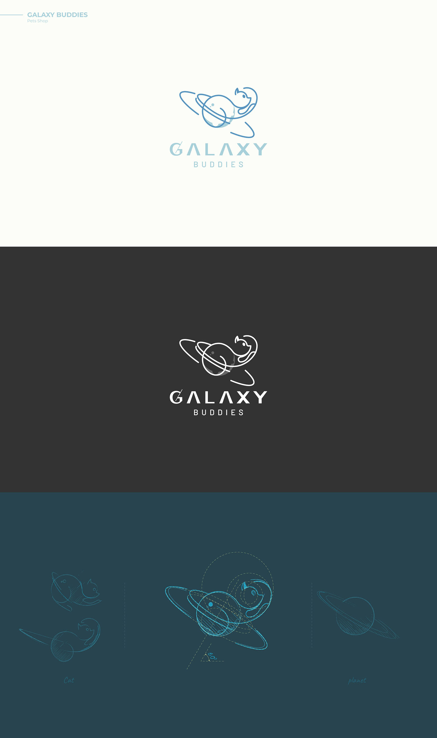 Galaxy Buddies - Cat logo design by DAINOGO